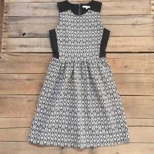 Madewell Black and White Jacquard Pattern Dress